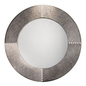 Grey Hide Cross Stitch 36-Inch Round Mirror