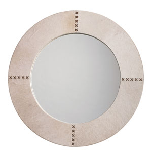 White Hider Cross Stitch 36-Inch Round Mirror