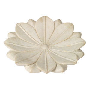 White Marble 15-Inch Decorative Floral Plate