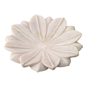 White Marble 9-Inch Decorative Floral Plate