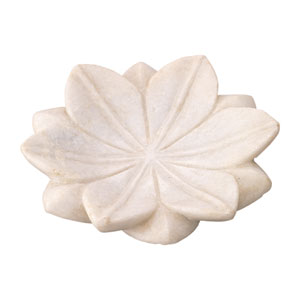 White Marble 6-Inch Decorative Floral Plate
