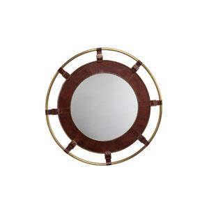Tobacco Leather 36-Inch Round Mirror