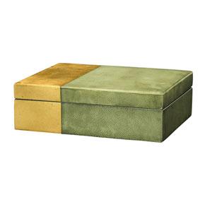 Raymond Grey Faux Shagreen with Gold Leaf Box