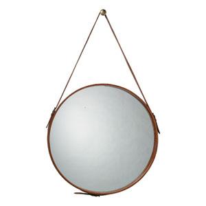 Round Leather 16-Inch Mirror