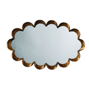 Scalloped Antique Brass and Patina Mirror