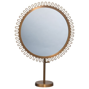 Brass 22-Inch Mirror on Vanity Stand