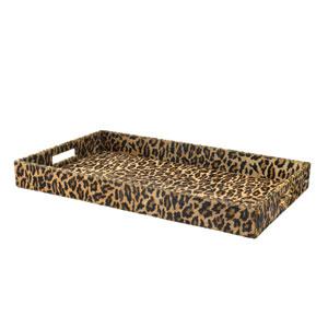 Leopard Print Hide 14-Inch Decorative Tray