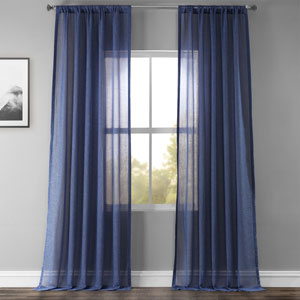 Blue 96 x 50 In. Faux Linen Sheer Curtain Panel