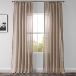 Vintage Beige 96 x 50 In. Faux Linen Sheer Curtain Panel