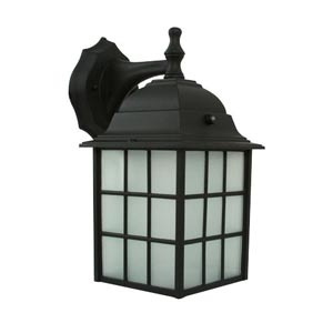 Powder Coated Black Energy Star Rustic Outdoor Wall Lantern with Photocell and Frosted Glass Diffuser