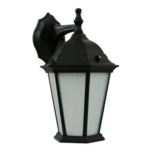 Powder Coated Black Energy Star Outdoor Wall Lantern with Photocell and Frosted Glass Diffuser