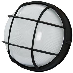 Powder Coated Black Energy Star Outdoor Flush Mount with Ribbed Glass Diffuser
