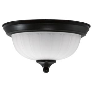 Oil Rubbed Bronze Energy Star Flush Mount with Frosted Glass
