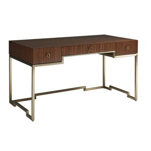 Aventura Brown and Gold Athena Writing Desk