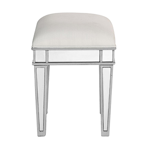 Contempo Hand Rubbed Antique Silver and White 18-Inch Vanity Stool