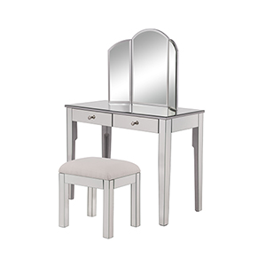 Contempo Hand Rubbed Antique Silver 42-Inch Vanity Table Set