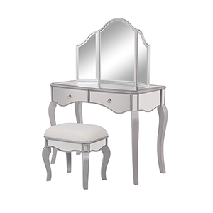 Contempo Hand Rubbed Antique Silver and Clear Mirror 42-Inch Vanity Table Set