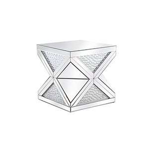 Modern Mirrored 23-Inch Contemporary Crystal End Table