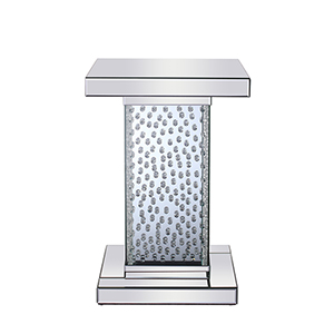 Modern Mirrored 26-Inch Crystal End Table