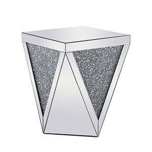 Modern Mirrored 23-Inch Grey Crystal End Table
