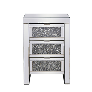 Modern Mirrored 25-Inch Grey Crystal Bedside Table