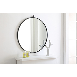 Eternity Black Round 32-Inch Mirror with Hook
