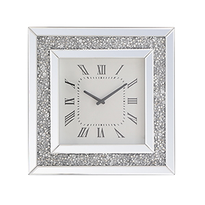 Modern Mirrored 20-Inch Crystal Wall Clock