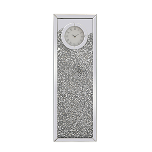 Modern Mirrored 35-Inch Crystal Wall Clock