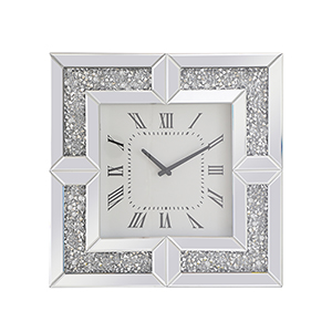 Modern Mirrored 10-Inch Crystal Wall Clock