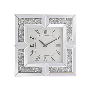 Modern Mirrored 20-Inch Grey Crystal Wall Clock
