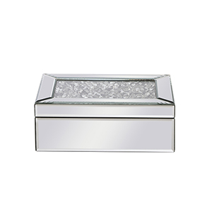 Modern Mirrored 10-Inch Crystal Jewelry Box
