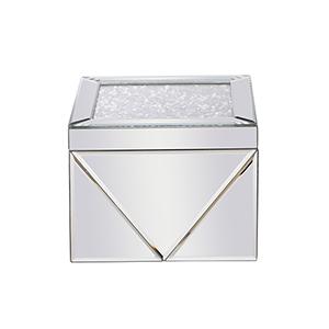 Modern Mirrored Eight-Inch Crystal Jewelry Box