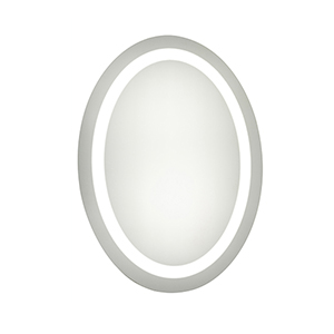 Nova Glossy Frosted White 28-Inch Oval LED Mirror 5000K