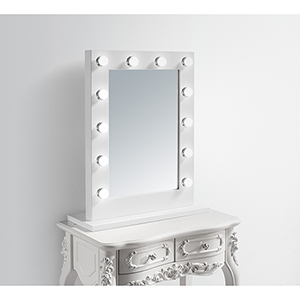 Hollywood Glossy Frosted White 32-Inch LED Mirror 3000K