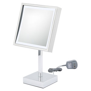 Single-Sided White LED Square Freestanding Mirror - Plug In