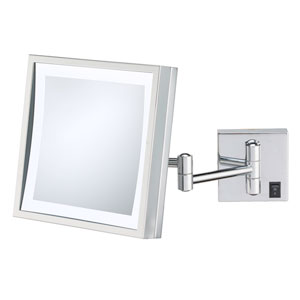 Single-Sided Chrome LED Square Wall Mirror - Hardwired
