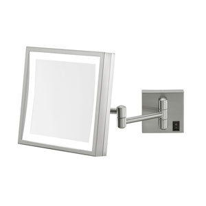 Single-Sided Brushed Nickel LED Square Wall Mirror - Hardwired