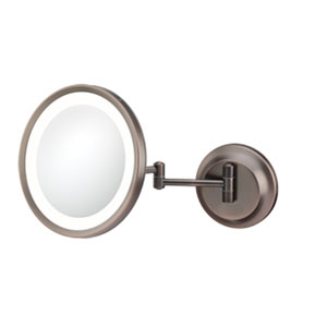 Single-Sided Bronze LED Round Wall Mirror - Hardwired