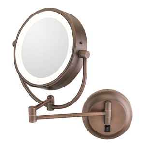 Neomodern Bronze LED Lighted Wall Mirror - Hardwired