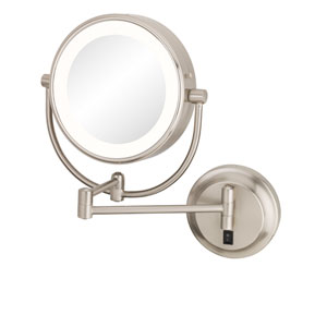 Neomodern Brushed Nickel LED Lighted Wall Mirror - Hardwired