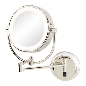 Neomodern Polished Nickel LED Lighted Wall Mirror - Hardwired