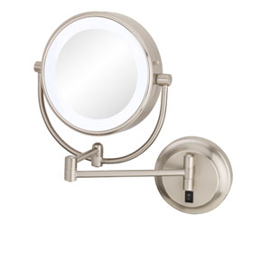 Neomodern Brushed Nickel LED Lighted Wall Mirror