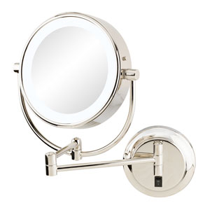 Neomodern Polished Nickel LED Lighted Wall Mirror