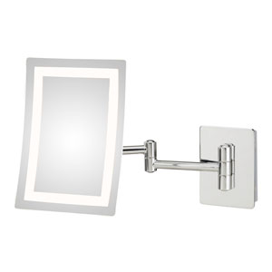 Single-Sided Chrome LED Rectangular Wall Mirror - Hardwired