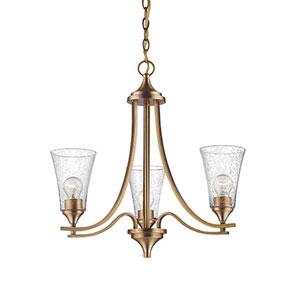 Natalie Heirloom Bronze Three-Light Chandelier with Seeded Glass Shades