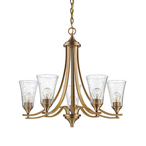 Natalie Heirloom Bronze Five-Light Chandelier with Seeded Glass Shades