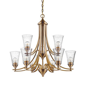 Natalie Heirloom Bronze Nine-Light Chandelier with Seeded Glass Shades