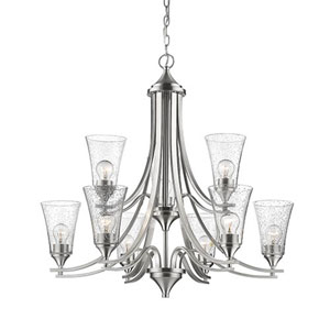 Natalie Satin Nickel Nine-Light Chandelier with Seeded Glass Shades
