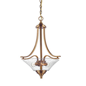 Natalie Heirloom Bronze Three-Light Pendant with Seeded Glass