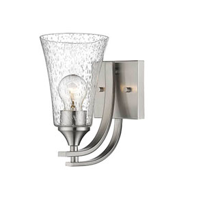 Natalie Satin Nickel One-Light Wall Sconce with Seeded Glass